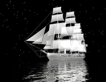 digital visualization of a ship