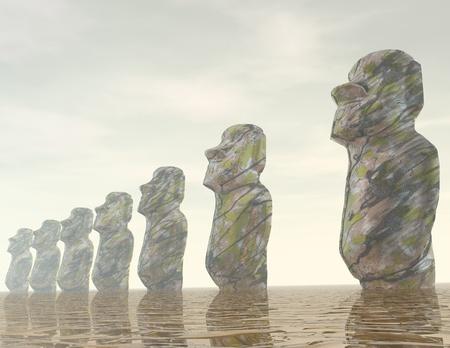 moai: digital visualization of a suurealistic easter island scene Stock Photo