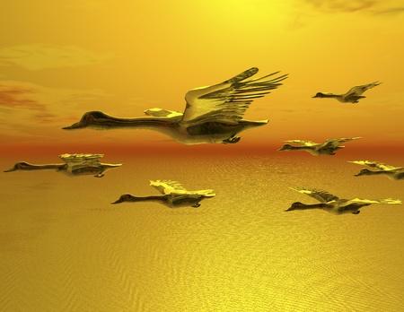 digital visualization of flying goose photo