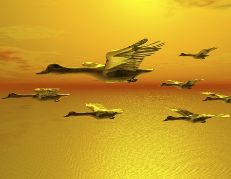 digital visualization of flying goose Stok Fotoğraf