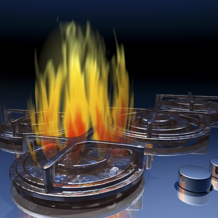 gas stove: Digital visualization of a gas stove