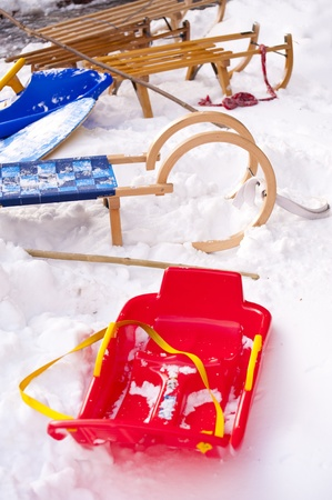 Sleds in the snow photo