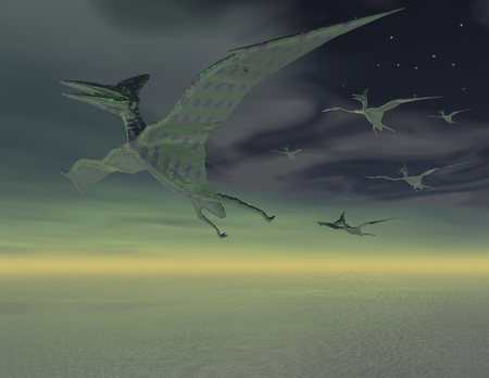 prehistorical: Digital visualization of flying dinosaurs Stock Photo