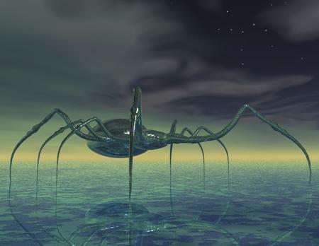 nightmarish: Surreal scene with monster spider Stock Photo