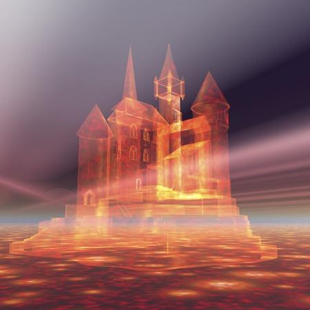 Visualisation numérique d'un château dans le ciel