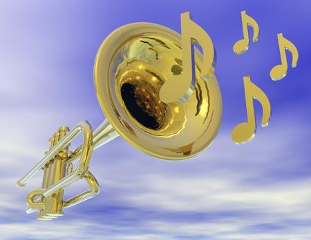 brass instrument: Digital visualization of a trumpet