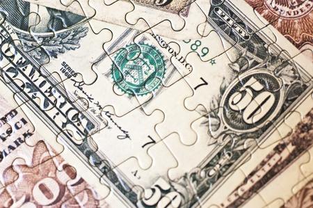 Close up of a money puzzle photo