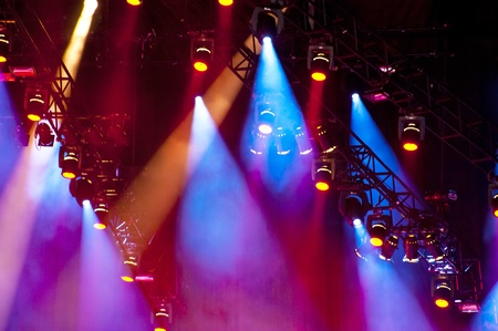 colourful lightings: Lightshow on a concert Stock Photo