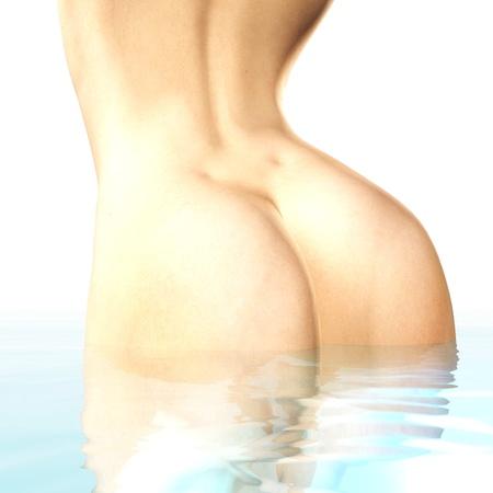 Digital rendering of a bathing woman photo