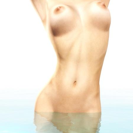 3d nude: Digital rendering of a bathing woman