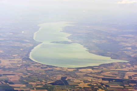 Aerial image of Lake Balaton Stock Photo