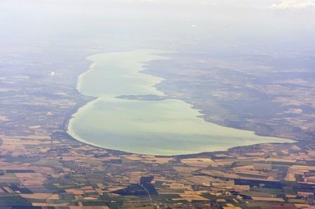 Image aérienne du lac Balaton Banque d'images