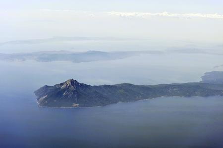mountain peek: Aerial image of Mount Athos
