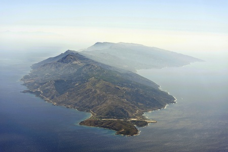 Aerial image of greek island Ikaria photo