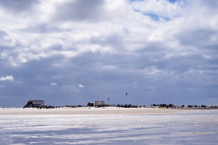 pile dwelling: Beach of St. Peter-Ording, Germany Stock Photo