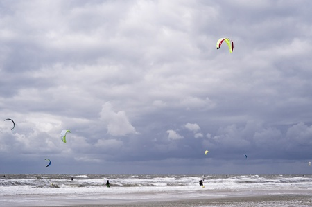 kiter: Beach of St. Peter-Ording, Germany Stock Photo