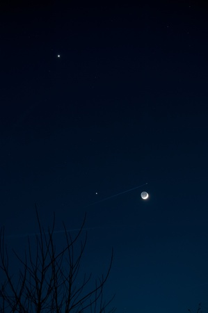 Crescent Moon with Jupiter and Venus photo