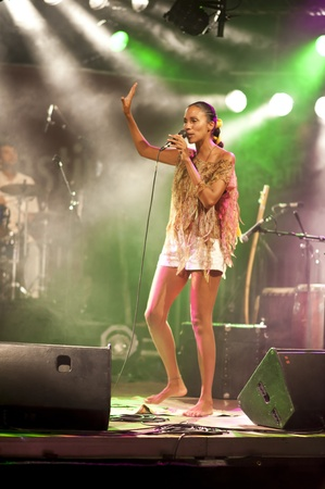 KIEL, GERMANY - AUGUST 19: Brazil-Pop Star  Betina Ignacio alias Be performes on the Duckstein Festival in Kiel, 2012 August 19