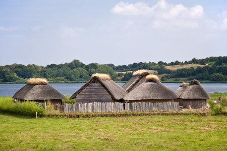 Reconstruction of a viking village Stock Photo