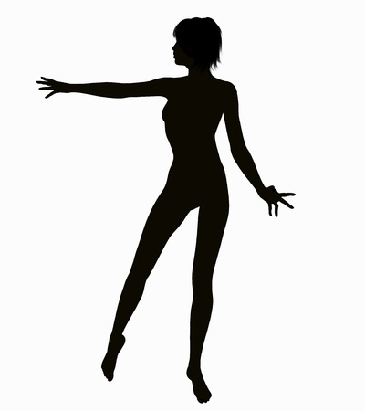 3d nude: Silhouette of a posing Woman