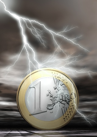 euro area: Euro Coin with Flash