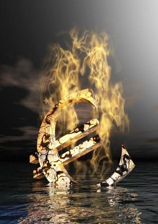 burning money: Burning Euro Sign