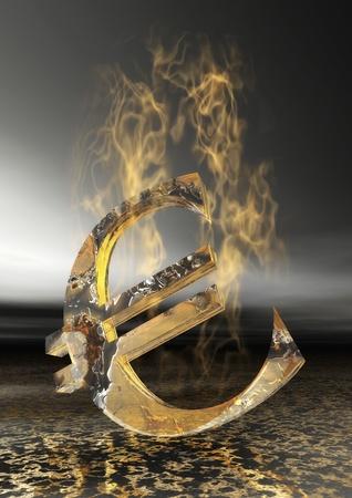 Burning Euro Sign photo