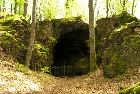 stoneage: Cave on the Hiking Trail Eifelsteig, Germany