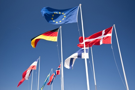 scene with european frlags photo