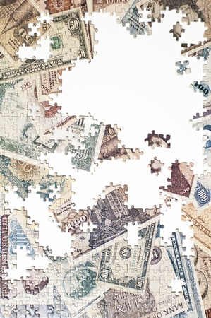 d mark: Detail of a Banknote Puzzle Stock Photo
