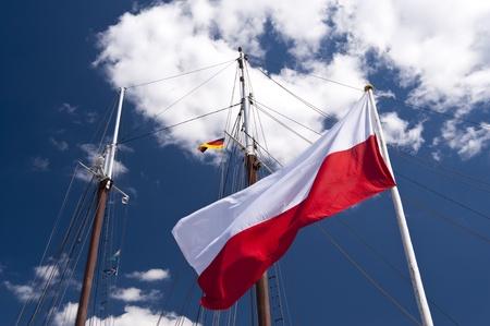 Poland Flag with sailing Masts photo