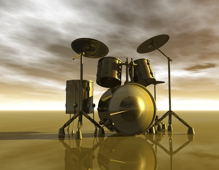 surrealist: Digital Illustration of Drums Stock Photo