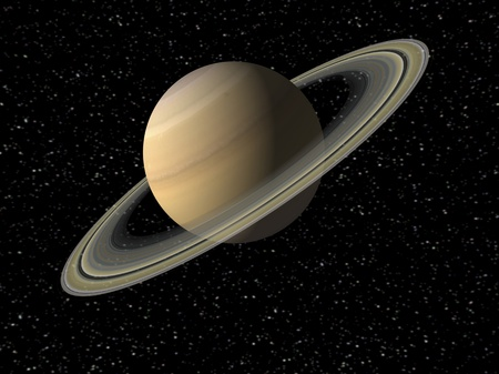 Digital Illustration of Planet Saturn Stock Photo