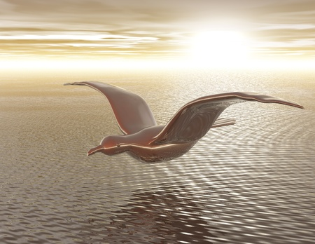 surrealist: Digital Illustration of a Seagull Stock Photo