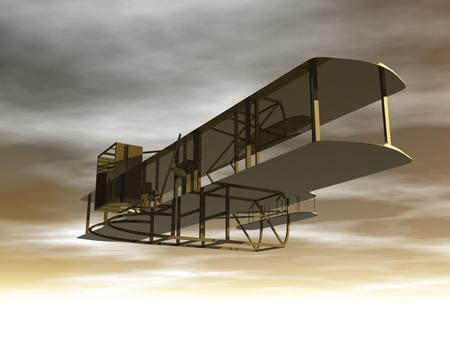 wright: Digital Illustration of a Biplane Stock Photo
