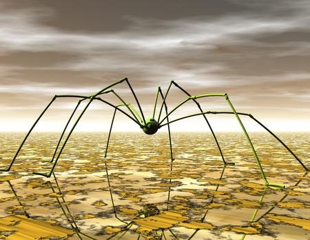 nightmarish: Digital Illustration of a Spider Stock Photo