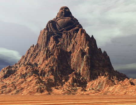 introverted: Digital Illustration of a Buddha Mountain Stock Photo