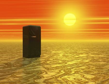 Digital Illustration of a Desert with Icebox Stock Photo