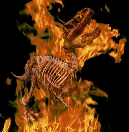 t rex: Digitale illustratie van een brandende T. Rex