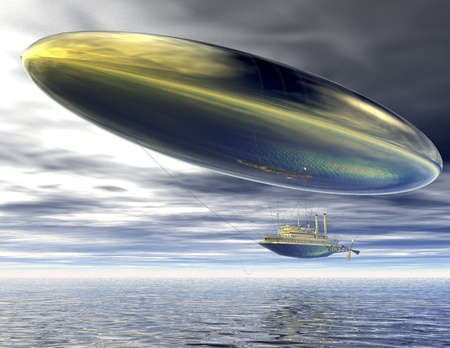 surrealistic: digital visualization of a surrealistic steamer airship Stock Photo