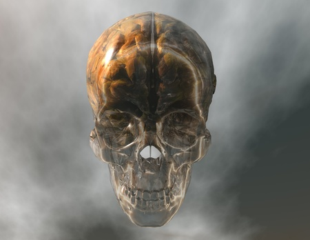 surrealistic: digital visualization of a crystal skull with brain Stock Photo
