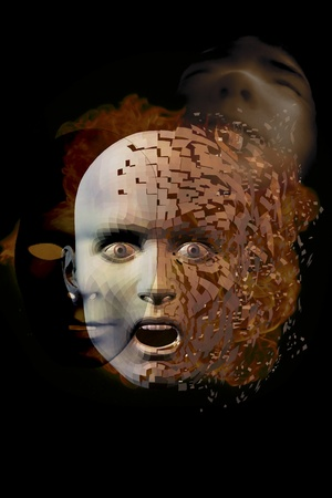 digital composition of a surreal face photo