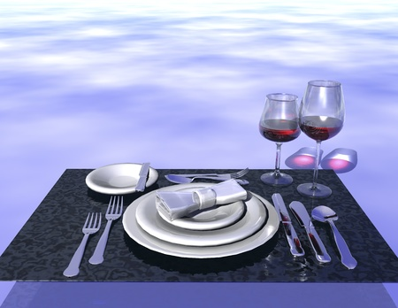 atmospheric: digital visualization of a dinner place Stock Photo