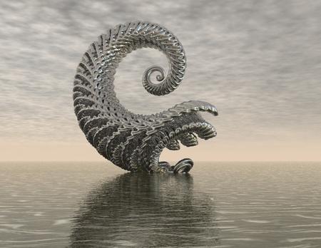 lifeform: digital rendering of a surrealistic organic spiral