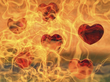 photorealism: hearts in flames