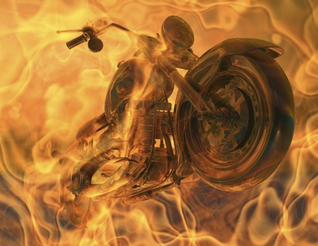 motorcycle in flames photo