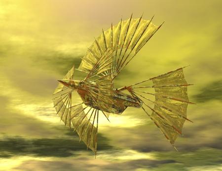 photorealism: digital rendering of an airship