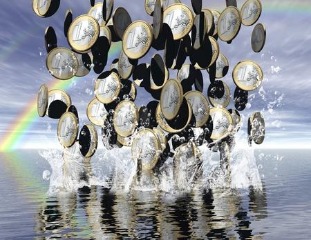 slowdown: digital visualization: it´s raining money Stock Photo