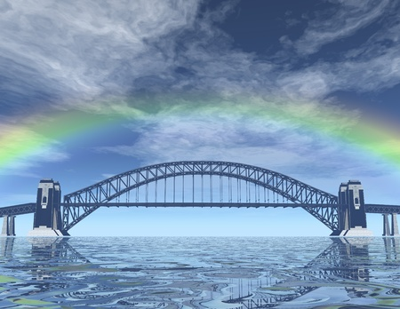 digital visualization of a bridge Stock Photo