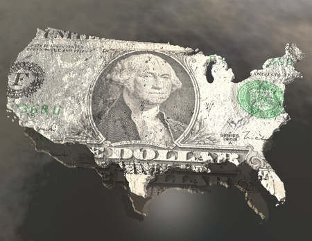 digital visualization of the usa with dollar texture photo